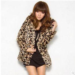 Wholesale faux fur leopard coat - Womens Hooded Leopard Faux Fur Jacket Long Section Fashion Female Man-Made Fur Overcoats Fur Women Coat Jaquetas Feminino K312