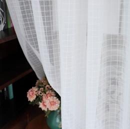 paneles de voile Rebajas Cortinas blancas a cuadros cortinas transparentes listas para el uso de cortinas de ventana de 1,5 M 2 M fijadas para la decoración del hogar