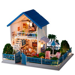 e housing Coupons - DIY Doll House Minature Dollhouse Wooden Mini Casa Furnitures Villa Building Kits Accessories Toys For Children Adults K004 #E