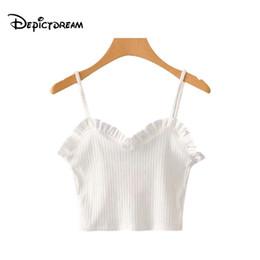 2018 Grund gestrickte Crop Tops gekräuselte schwarz weiße Camis Bluse sexy  V-Ausschnitt ärmellose rückenfreie Shirts Damen dehnbare Tops f2a70ff21e