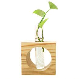 Adornos de madera del contenedor de la planta hidropónica Florero pequeño pequeño Artesanías de escritorio Decoración para el hogar Accesorios Flor Maceta desde fabricantes