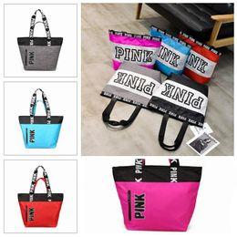 Wholesale interior shop - 9 Colors Pink Letter Handbags Women Shoulder Bags Love Pink Waterproof Shopping Bag Handbag Secret Travel Duffle Bags CCA8953 12pcs