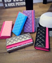 Wholesale cover phone korean style - wholesale brand handbag leather wallet cover double personality hand fashion Lingge embroidery thread women wallet candy color Long Wallet