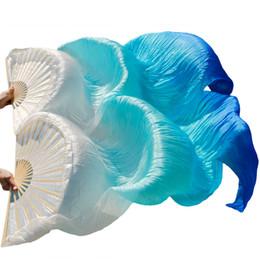 Argentina 2018 Nuevas llegadas Fanáticos de la seda chinos de alta calidad 1 Par Fanáticos de la danza del vientre de seda hechos a mano Blanco + Turquesa + Azul real 180 * 90 cm cheap quality silk fans Suministro