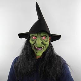 Зеленые дома онлайн-Хэллоуин Ужас Ведьма Зеленая голова Серые маска для волос Дом с привидениями для дома с ограниченными возможностями Одеваем живую целую мужскую крышку оптом Бесплатная доставка