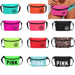 Wholesale Bags Belt - Pink Fanny Pack Pink Letter Waist Belt Bag Fashion Beach Travel Bags Waterproof Handbags Purses Outdoor Cosmetic Bag