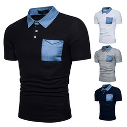 Wholesale Black Pocket Tee - New Fashion Line Short Shirts for Men Short Sleeves Poloshirts With Pocket Top Tee Brand t Shirts Denim Patchwork Casual Tees Male Shirt