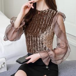 2019 samt schick Koreanische Frauen-Damen-Chic-Art-Ineinander greifen-Rüschen-Bell-Hülsen-samtes T-Shirt Bluse günstig samt schick