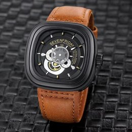 Wholesale Bull Buckles - seven Friday men's brand watches quartz wrist watch square true bull belt waterproof