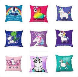 Wholesale cotton decor - 16 Styles Unicorn Horse Pillowcase creative cartoon unicorn print pillow case bed sofa waist cushion cover car hom decor free shipping