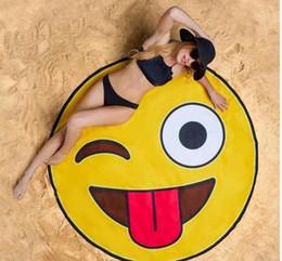 Wholesale Pie Designs - 11 Design round beach towel Skull Ice Cream Strawberry Smiley Emoji Pineapple Pie Watermelon Beach Shower Towel Blanket mat Towels wn062