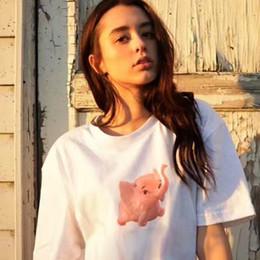 Elefantdruckt-shirt online-17SS BOX LOGO Elefant T-Stück Druck Elefant T-Shirt Lose Tops Harajuku T-shirt Männer Frauen Baumwolle Lässig T-stück HFLSTX046