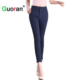 Wholesale Black Business Suit For Women - {Guoran} Formal office work pants for women 2017 summer new Business suit trousers femme black white blue pantalon pencil pant