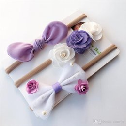 Wholesale sequin hairbands - Baby Girl Rabbit ears flower Sequins colorful Headbands three piece a set Infant Kids Elastic nylon Hairbands Children Knot Hairband KHA427