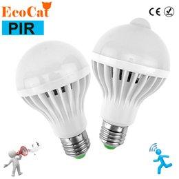 Wholesale Motion Sensor Led 12w - LED Night light E27 3W 5W 7W 9W 12W 220v LED Lamp Bulb PIR Infrared Motion   Sound + Light Sensor Control auto Body Detection