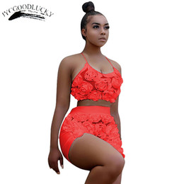 short red halter dresses Promo Codes - Sexy Two Piece Set 2017 New Halter Beach 2 Piece Set Women Crop Top And Shorts Sets For Women Clothing Summer Female Suits