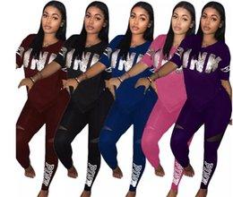 Wholesale female ski suit - hi Plus size Pink Letter Print Tracksuits Women Two Piece Set 2018 Female Street T-shirt Tops And Jogger Set Suits Casual 2pcs Outfits S-3XL
