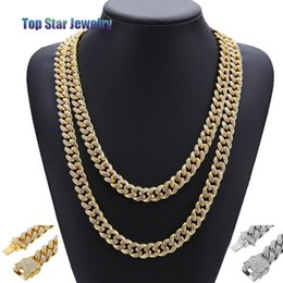 Wholesale 14k curb chain - 2018 New 14K Gold Plated MIAMI CUBAN LINK Full Cubic Zirconia Necklace Hip Hop Bling Jewelry Hipster Men Women Curb Butterfly Clasp Chain