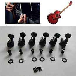 Wholesale Tuning Keys For Electric Guitars - 6pcs Black Electric Guitar Locking String Tuning Peg Key Machine Head Tuner with Screws For Left Hand Guitar Parts Accessories