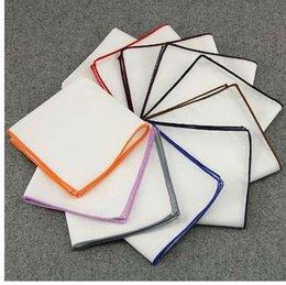 Bufandas de pañuelo de alta calidad Pañuelos de bolsillo de algodón Vintage Pañuelos cuadrados de los hombres sólidos 23 * 23 cm Royal Blue Red baratos desde fabricantes