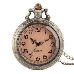 женщины смотрят прозрачно Скидка Старинные унисекс карманные часы коричневый прозрачный стекло кварцевые часы с цепью ретро кулон ожерелья подарки для мужчин женщин
