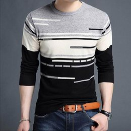 Пуловер с длинными рукавами онлайн-VXO 2018 New Arrival Spell color Sweater Men Casual Long Sleeve O-Neck Pull Homme Plus Size Striped Shirt Mens Pullover