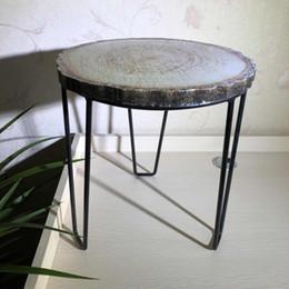einfache wohnmöbel Rabatt Schmiedeeisen-fester hölzerner runder Schemel-einfache moderne kreative Weinlese-Holzbank