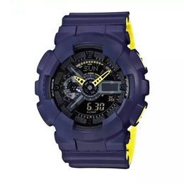 Мужские часы водонепроницаемые онлайн-2018 новый Relogio, 110 Мужские спортивные часы, светодиодный хронограф, водонепроницаемый военные часы, цифровые часы, полнофункциональный рабочие огни, автомобильные фары