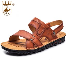 Wholesale First Sewing - 2018 New Summer The First Layer of Leather Cool Slippers High-end Business Casual Men's Shoes Handmade Leather Beach Shoes