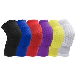 Anti-colisão on-line-Professional Honeycomb Anti-colisão curto Compressão Joelho Manga Protetor joelheira conjunto para corrida, voleibol, basquete, futebol