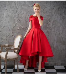 Wholesale Modern Cotton Dresses - High Low V neck Prom Dresses 2017 Red Front Short Long Back Formal Gown Cap Sleeveless Elegant Party Evening Dresses