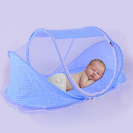 foldable baby mosquito nets NZ - Portable Foldable Newborn Baby Sleeping Crib Bed Mosquito Net Tent with Pillow