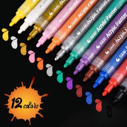 Canada Marqueurs acryliques mb stylo 12 couleurs peinture premium stylos pour la peinture sur la toile de verre de roche en bois en céramique en céramique oeuf de Pâques bricolage projets d'artisanat Offre