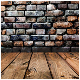 Wholesale Brick Wall Photography Backdrop - Retro Vinyl Photography Backdrop Brick Wall Wood Floor Background Photo Studio Accessories 5*7FT