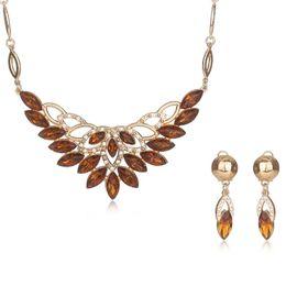 AYAYOO Set di gioielli di perle africane Set di gioielli di donne blu reale per la collana di orecchini di cristallo imitazione di colore oro di nozze cheap imitation royal jewelry da imitazione gioielli reali fornitori