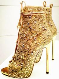 Wholesale Sexy Golden High Heels - luxury sandals leather golden women new European fashion high-heeled rhinestone summer sexy hollow free shipping