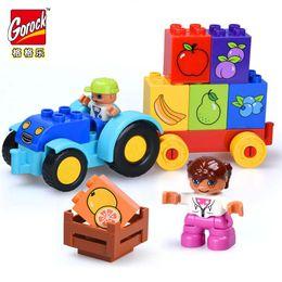 Blocos de grandes blocos on-line-18 pcs duplo legofigures Pomar Feliz Tamanho Grande Blocos de Construção de Frutas Tijolos Compatíveis headz Brinquedo Educativo para Crianças