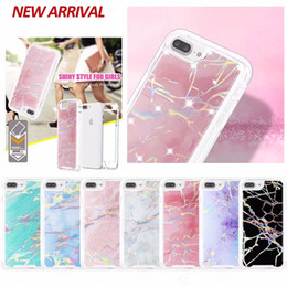 Wholesale pink marbles - 2 in 1 Fashion Marble Laser Shiny Case Sparking Bling Felxible Soft TPU + Hard PC Cases Cover For iPhone X 8 7 6 6S Plus