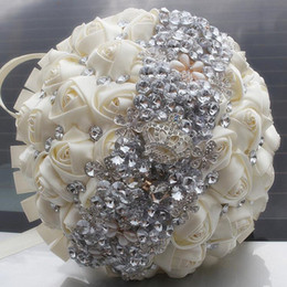 Wholesale Wedding Bouquet Bling - Hand Made Rose Pageant Wedding Bouquets 2018 Bling Silver Rhinestone Crystal Bridal Flowers With Beading Handle Bridesmaid Bride