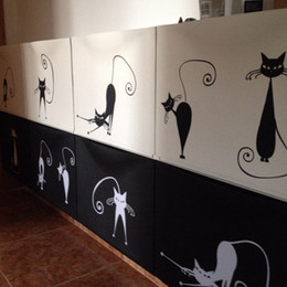 Wholesale Plastic Pussy - Cute Cat Wall Stickers , set of 5 funny cute cat vinyl wall decal stickers ,free shipping Abstract pussy cat decoration p2037