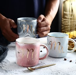 Copas para parejas online-Creativo Phnom Penh Taza de cerámica Taza de mármol europea Oficina Taza de café Pareja par Taza Drinkware tazas