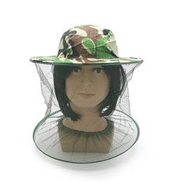 Wholesale Bug Hats - Anti-mosquito Camouflage Hat Mosquito Green Camouflage Insect Bug Mesh Head Net Face Protector Cap Outdoor Garden Supply