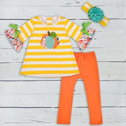 e74da61fb76c halloween baby clothes boutique outfits pumpkin pattern striped tops solid pants  girls cotton clothing sets2GK806-398 Y1892707