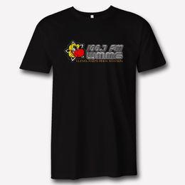 WMMS 100.7 Radio FM Rock N Roll Logotipo de Cleveland Rock Radio Apparel Camiseta negra nuevo 2018 Verano Moda Hombre manga corta algodón desde fabricantes