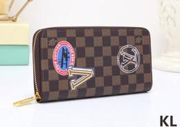 Wholesale badge wallets - luxury new badge black square v long zipper wallet men wallet clutch bagfree shipping