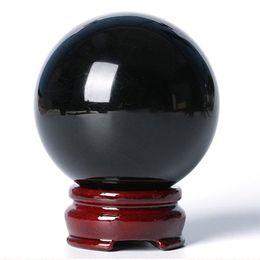 Хрустальный шар черный онлайн-Современный 40 мм натуральный черный обсидиан шар хрустальный шар целебный камень с подставкой домашнего офиса украшения стола праздничные подарки