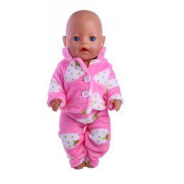Wholesale Child Plush Coat - Doll accessories,Two plush pajamas (coat + pants) fit 43cm Baby Born zapf, Children best Birthday Gift
