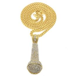micrófonos de diamantes Rebajas Diseño de moda micrófono colgante collares de lujo completo collar de diamantes Mic Nuevo estilo Hip Hop collares regalo de KTV