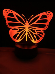 Wholesale Butterfly Eggs - Butterfly LED Bedroom Night Light Acrylic 3D Lamp 7 Colors Changing Remote Touch Switch Sitting Room Lights Sleep Light