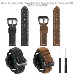 2019 banda intelligente di garmin Bracciale cinturino da polso in vera pelle cinturino dell'orologio da 22 mm per Garmin Fenix 5 / Forerunner 935 / Approach S60 (NON per fenix 5X / 5S) sconti banda intelligente di garmin